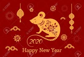 chinese new year card 2020 greeting card with chinese new year 2020 white rat on the astrological