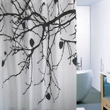 chinese style white black tree shower curtains