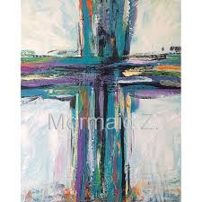 hand painted abstract oil painting contemporary cross painting art teal black purple canvas fresh