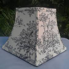 toile lamp shade chandelier square bell frame black off white cotton upholstery fabric black grosgrain