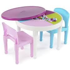 tot tutors kids 2 in 1 plastic lego compatible activity table and 2 chairs set bright colors com