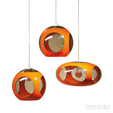 Three Luigi Colani B 1928 Ufo Space Age Hanging Lamps Sale