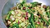 a pilaf of asparagus  broad beans and mint