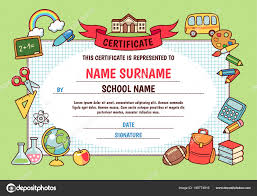 Cute Template Diploma Elementary School Cute Template Frame Cartoon School Objects
