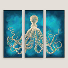 octopus sea life wall art 3 piece on 3 piece wall art with octopus sea life wall art 3 piece world market