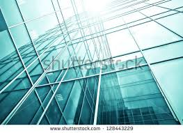 perspective and underside angle abstract view to textured background of modern glass office building skyscrapers over abstract 3d office building