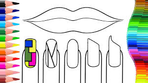 Lip Draw And Nail Art Design Learn Colors For Children