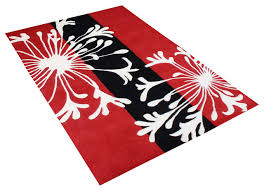 red black and white contemporary rug 5 x8