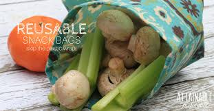 reusable snack bag or reusable sandwich bag teal fl with mushrooms and celery in it