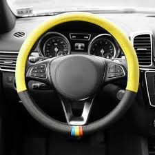 leather steering wheel cover 88 fh2008 yellow 04