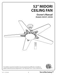 Patriot Lighting Ceiling Fan Parts 52 Midori Ceiling Fan Manualzz Com