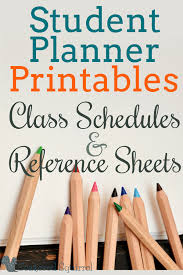 Student Planners Class Schedules And Reference Sheets