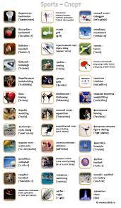 Виды спорта на английском языке в картинках с переводом и  Виды спорта на английском языке в картинках с переводом и транскрипцией для детей и взрослых