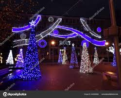 Blue White Outdoor Christmas Lights Outdoor Christmas Trees Blue Lights Stock Photo Imagesto