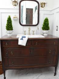Turn A Vintage Dresser Into A Bathroom Vanity HGTV - Bathroom cabinet remodel