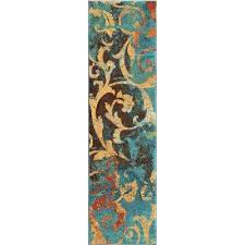watercolor scroll multi bright colors 2 ft x 8 indoor runner rug orange and green area orange and turquoise rug green