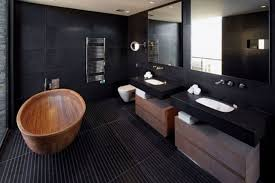 awesome bathrooms. Awesome Bathroom Decor With Black Wall And Two Balck Vanity Mirrors Wooden Tub Image Bathrooms O