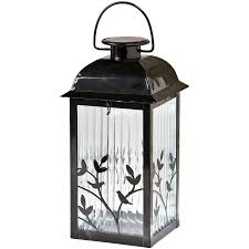 Modern Solar Patio Lights Lowes Gemmy X Black Glass Outdoor Decorative Lantern In Inspiration