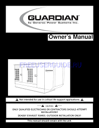Users Manual For Portable Generator Generac Power Systems