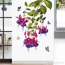 butterfly orchid flower wall stickers door window glass decor wallpaper poster art hallway decoration graphics cabinet refrigerators decals quotes stickers  on orchid vinyl wall art with butterfly orchid flower wall stickers door window glass decor