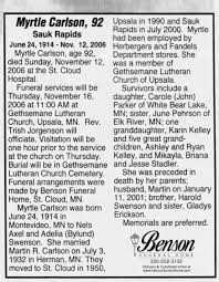 Obituary for Myrtle Carlson, 1914-2006 (Aged 92) - Newspapers.com