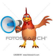 cute hen clipart. Exellent Hen 3d Rendered Illustration Of Hen Cartoon Character With Loud Speaker Intended Cute Clipart D