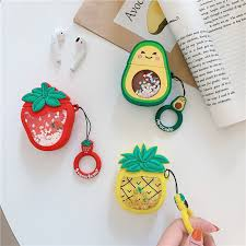 Quicksand Glitter Cute Fruit Avocado Strawberry <b>Pineapple Headset</b> ...