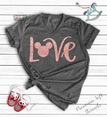 Unisex Shirt Size Chart Color Run Disney Love Shirts Love Minnie Shirt Glitter Rose Gold