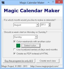 Calendar Creator For Windows 10 Download Magic Calendar Maker 3 6
