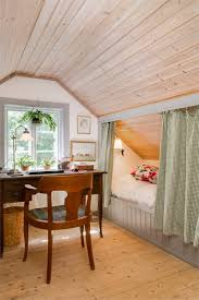 Craft Room with Sloped Ceiling and Skylights, Cottage, Den/library/office   | Pinteres