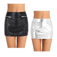 details about women s las fashion faux leather skirt fake zipper pockets con mini skirt