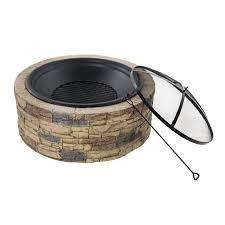 Stacked Stone Fire Pit amazon sun joe sjfp35stn cast stone fire pit 35inch 4320 by xevi.us
