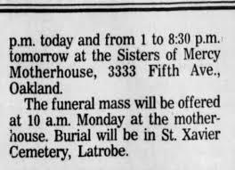 Sr. Antonia Conley death noice - Part II, Pittsburgh Press, Sat, 30 Nov.  1991, p. 20. - Newspapers.com