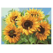 2019 <b>RIHE</b> Sunflower Abstract <b>Flower Painting Diy</b> Digital <b>Rose</b> ...