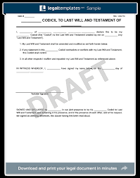 Codicil To Will Template | Create & Download A Codicil To A Will