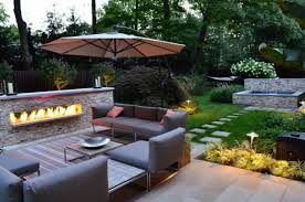 linear fireplace outdoor seating