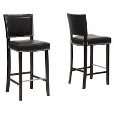 cheap wooden bar stools. Aries Black Faux Leather Upholstered 2-Piece Bar Stool Set Cheap Wooden Stools T