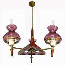 mid 20th century french art deco purple plum amethyst glass shades wood and
