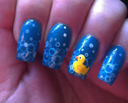 Rubber duck nails. For the bubbles: mix water with white acrylic ...