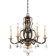 cau nobles raven bronze with sunburst gold highlight six light 28 inch chandelier