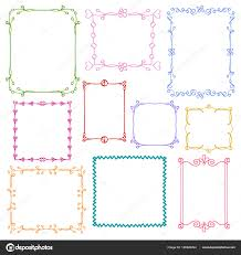 babies and kids photo frames vector set childrens drawing doodle style cute ornamental colorful fl photo frames for decoration and design stock