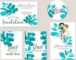 Green Card Template Wedding Invitation Card Template Green Leaf Couple Icons Free Vector