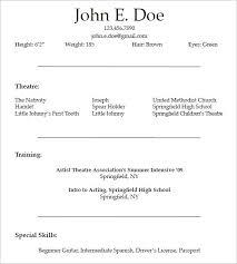 Theatrical Resume Template 10 Acting Resume Templates Free Samples Examples  Formats Download