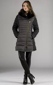 preview with zoom orobos womens faux fur down coat black