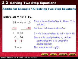 2 2 solving two step equations additional example 1a solving two step