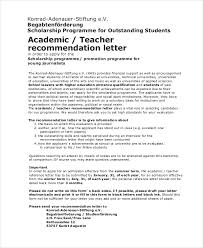 Scholarship Re mendation Letter From Teacher In PDF