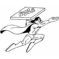 Small Picture Superhero Delivering Pizza Coloring Page