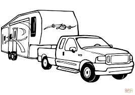 Small Picture Truck and Rv Camper Trailer coloring page Free Printable