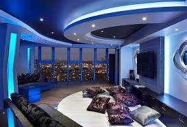 View in gallery Stunning space with view of London skyline and lighting  that adds a blue hue to the