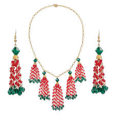 necklace and earring set one of a kind jewelry swarovski crystals 14kt gold filled vermeil red and green 24 inches with tab clasp and fishhook